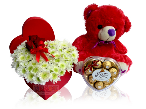 Ella (Red Teddy Bear + Flowers in a Heart Shaped Box ...