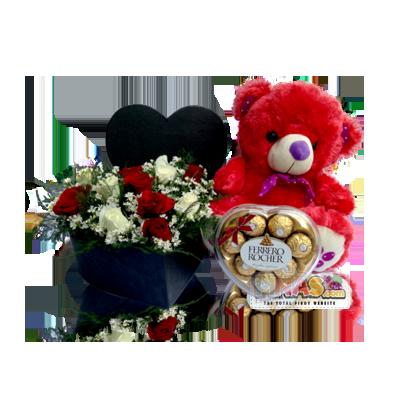 f12d3c03 Lovely Mix (Mixed Fresh Roses in Heart-Shaped Box + Sweet Ferrero  Chocolates + Red Teddy Bear)