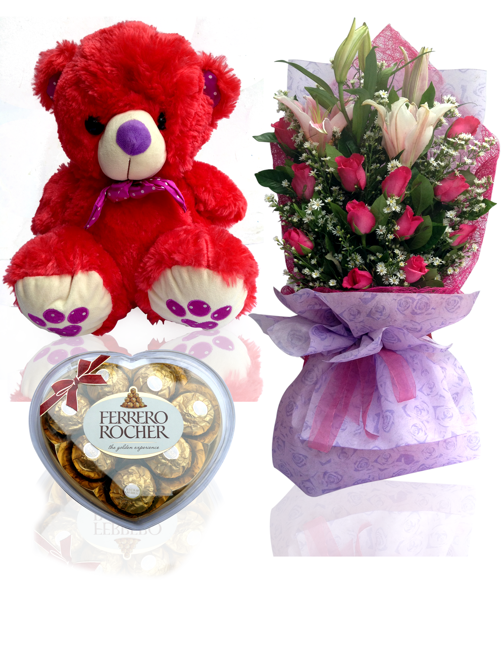 Meme meme (cuddly cute bear with one dozen roses and chocolate) pinas