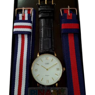 1989 Wrist Watch, Black Leather Strap (White and Gold)