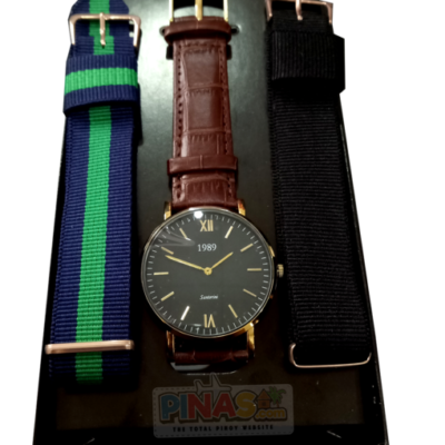1989 Wrist Watch, Brown Leather Strap, (Black and Gold)